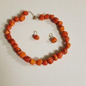 Orange with specks of black necklace